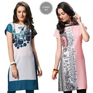 Elegant White And Pink Casual Wear Printed Kurti - Pack of 2