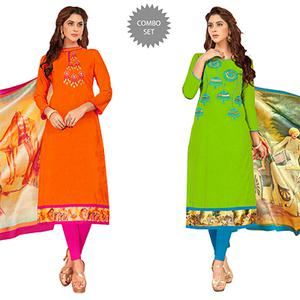 Pretty Partywear Embroidered Cotton Suit - Pack of 2