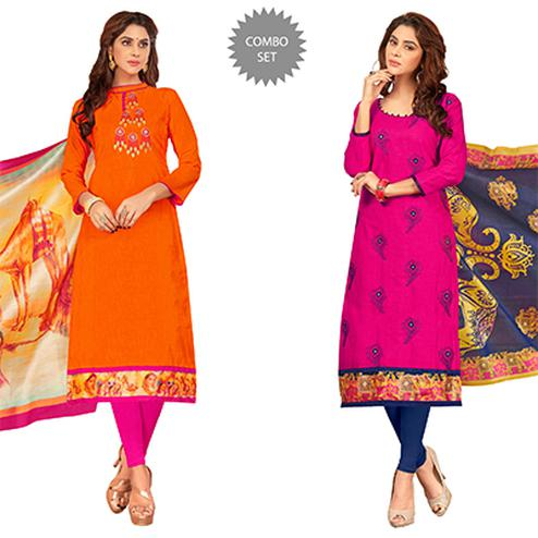 Charming Partywear Embroidered Cotton Suit - Pack of 2