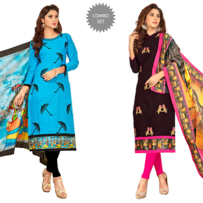 Adorning Partywear Embroidered Cotton Suit - Pack of 2