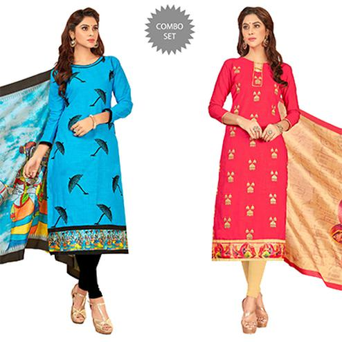 Majestic Partywear Embroidered Cotton Suit - Pack of 2