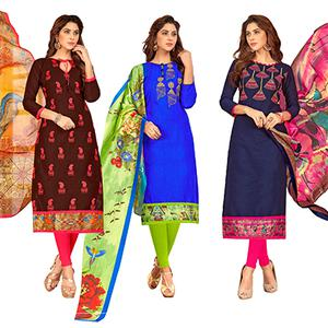 Mesmerising Partywear Embroidered Cotton Suit - Pack of 3