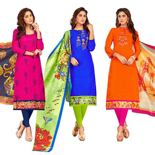 Mystic Partywear Embroidered Cotton Suit - Pack of 3