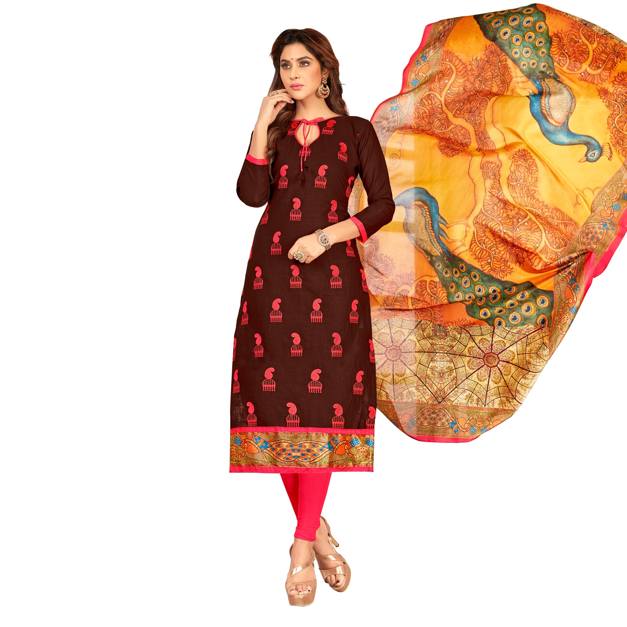 Unique Partywear Embroidered Cotton Suit - Pack of 3