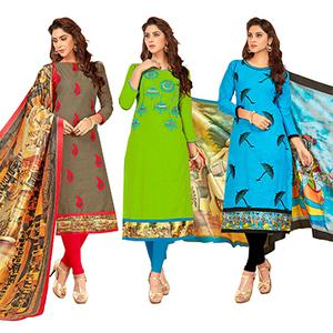 Ravishing Partywear Embroidered Cotton Suit - Pack of 3