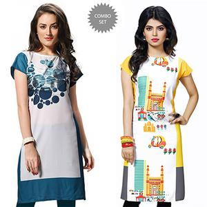 Attractive White And Yellow Casual Wear Printed Kurti - Pack of 2