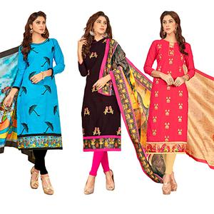 Appealing Partywear Embroidered Cotton Suit - Pack of 3