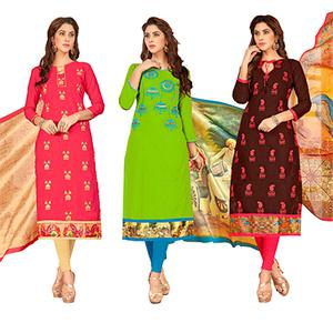 Innovative Partywear Embroidered Cotton Suit - Pack of 3