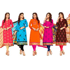 Lovely Partywear Embroidered Cotton Suit - Pack of 5