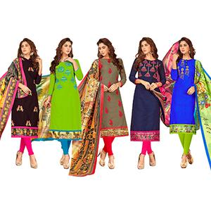 Classy Partywear Embroidered Cotton Suit - Pack of 5