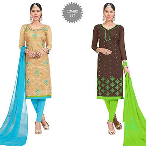 Attractive Embroidered Chanderi Silk Suit - Pack of 2