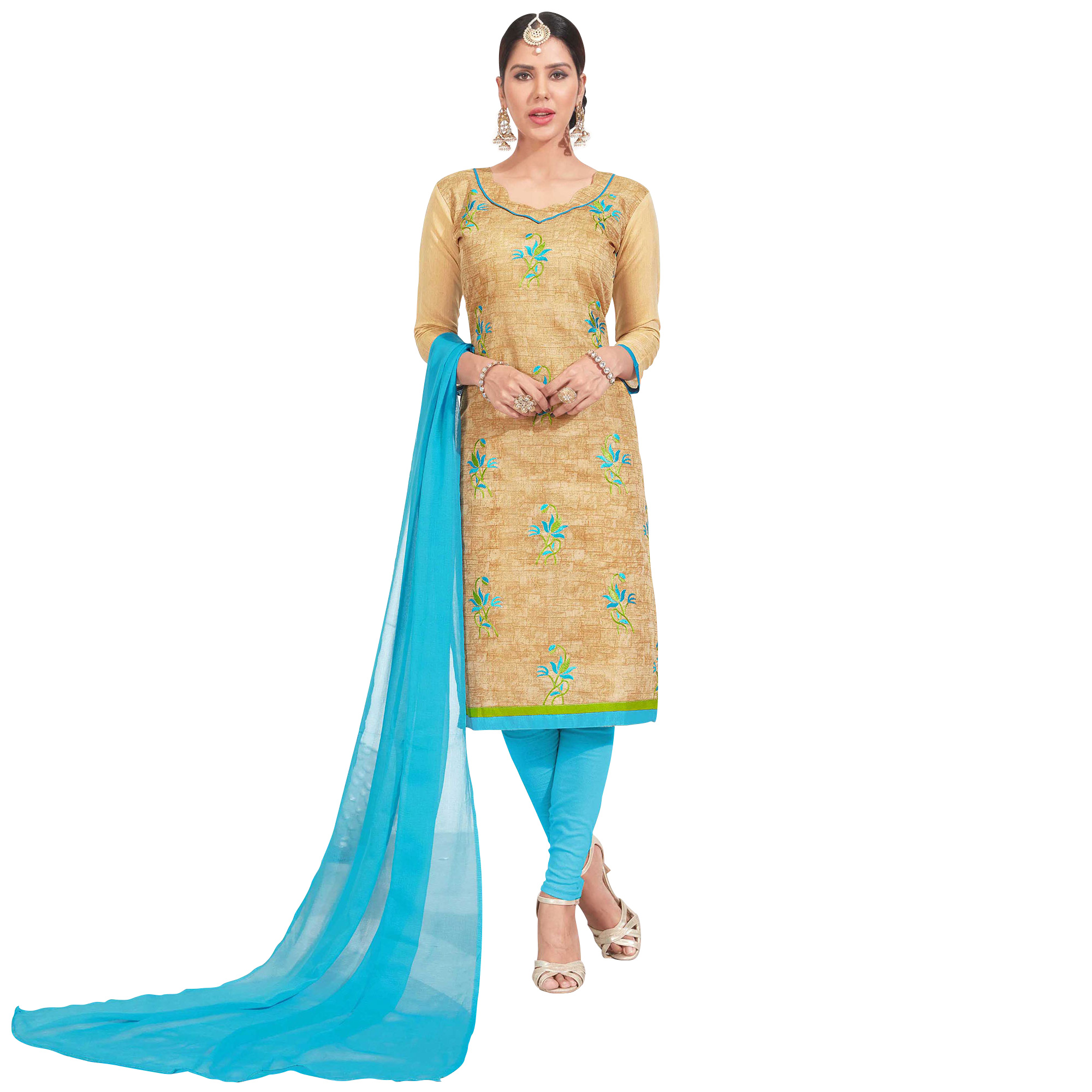 Eye-Catching Embroidered Chanderi Silk Suit - Pack of 2