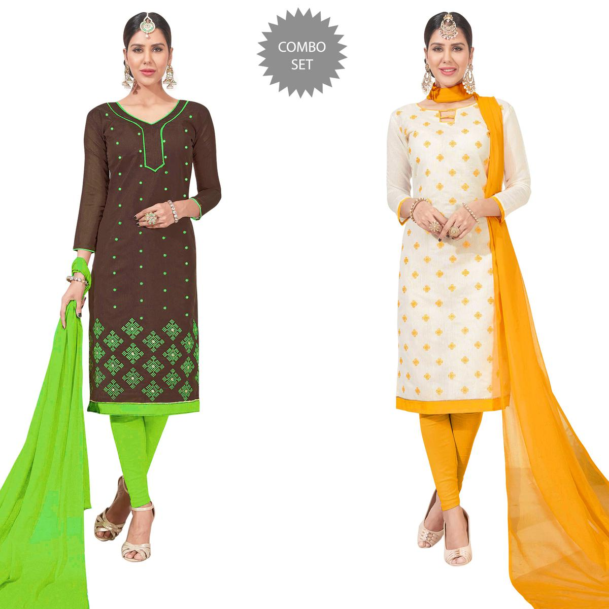 Beautiful Embroidered Chanderi Silk Suit - Pack of 2