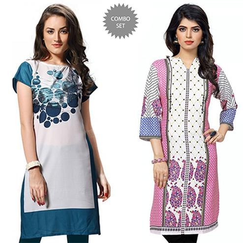 Extravagant White Casual Wear Printed Kurtis - Pack of 2