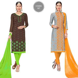 Impressive Embroidered Chanderi Silk Suit - Pack of 2