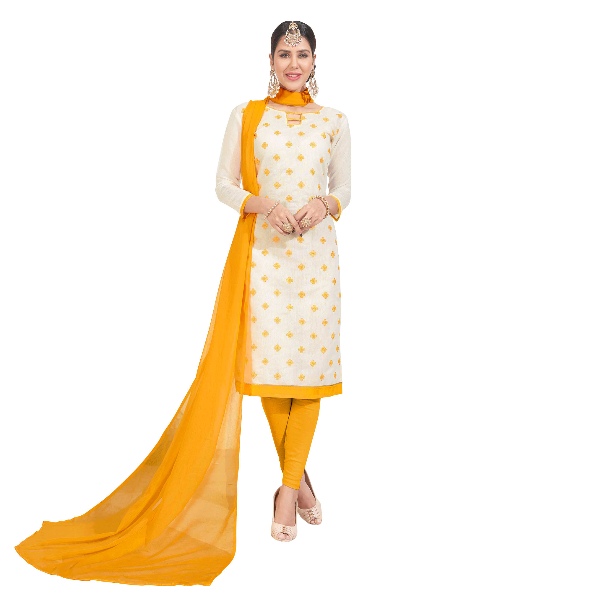 Charming Embroidered Chanderi Silk Suit - Pack of 2