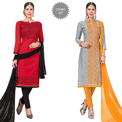 Stylish Embroidered Chanderi Silk Suit - Pack of 2