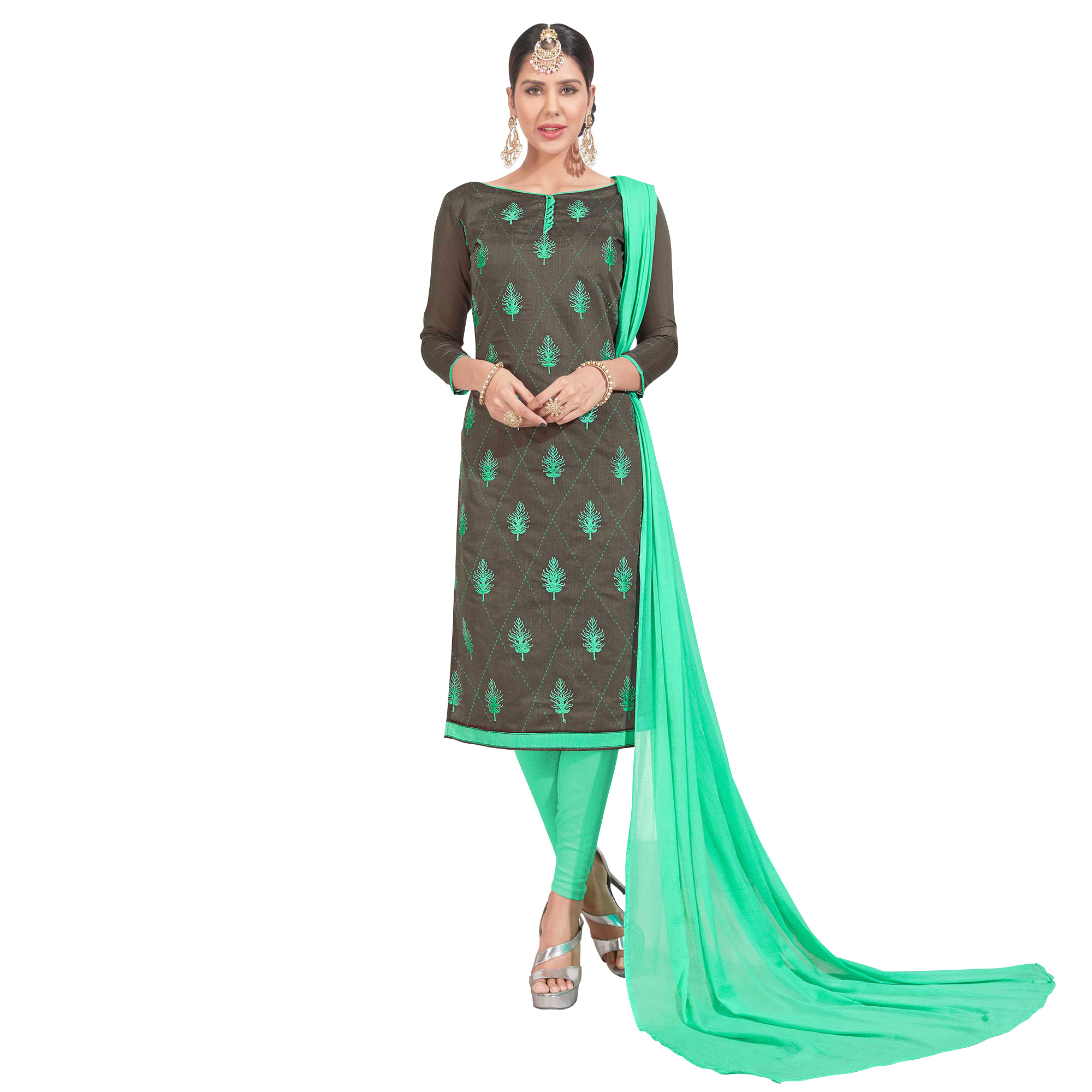 Demanding Embroidered Chanderi Silk Suit - Pack of 2