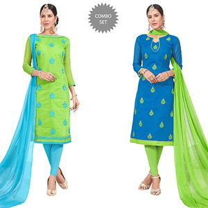 Desiring Embroidered Chanderi Silk Suit - Pack of 2