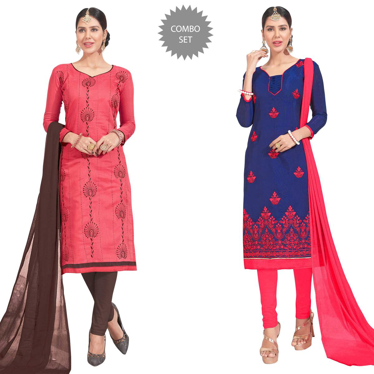 Gorgeous Embroidered Chanderi Silk Suit - Pack of 2