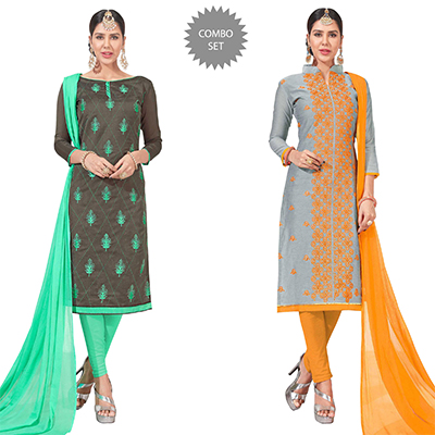 Adoring Embroidered Chanderi Silk Suit - Pack of 2