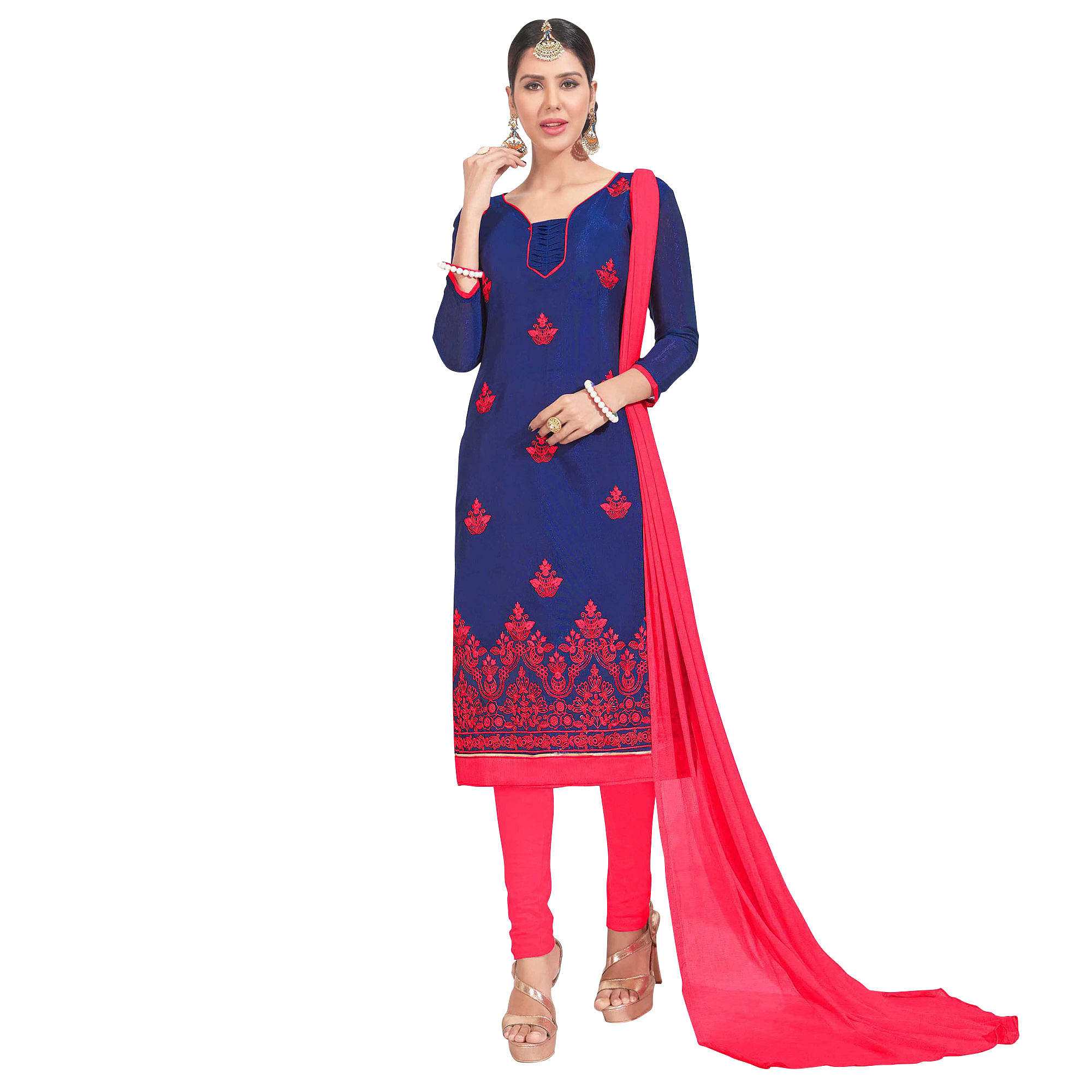 Flattering Embroidered Chanderi Silk Suit - Pack of 2