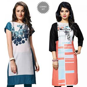 Charming White And Multi Casual Wear Printed Kurti - Pack of 2
