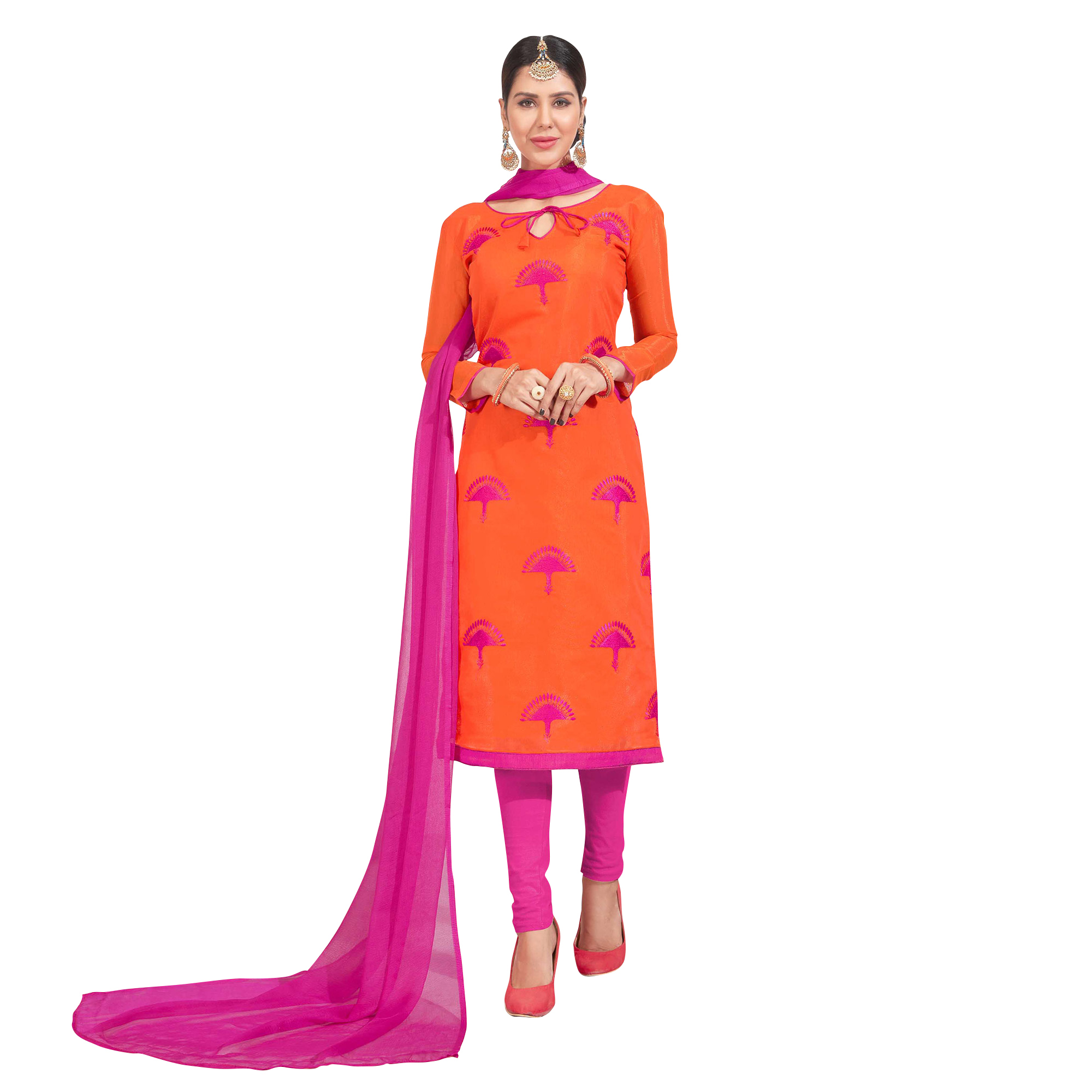 Staring Embroidered Chanderi Silk Suit - Pack of 2