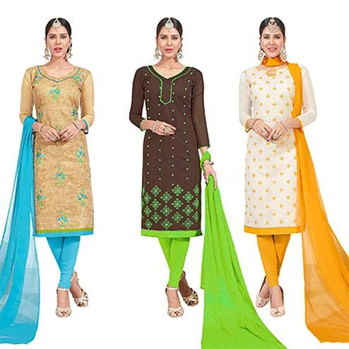 Flaunt Embroidered Chanderi Silk Suit - Pack of 3