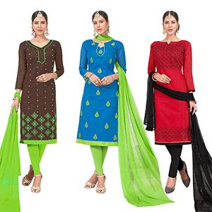 Energetic Embroidered Chanderi Silk Suit - Pack of 3