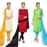 Blooming Embroidered Chanderi Silk Suit - Pack of 3