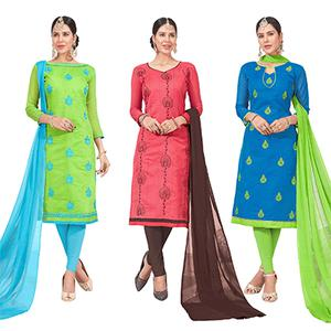 Groovy Embroidered Chanderi Silk Suit - Pack of 3