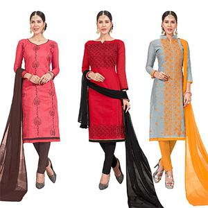 Mesmeric Embroidered Chanderi Silk Suit - Pack of 3