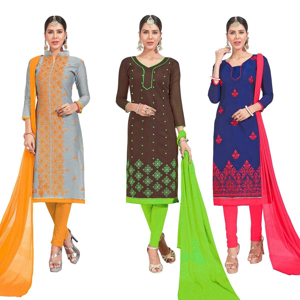 Gleaming Embroidered Chanderi Silk Suit - Pack of 3