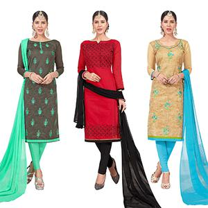 Ravishing Embroidered Chanderi Silk Suit - Pack of 3