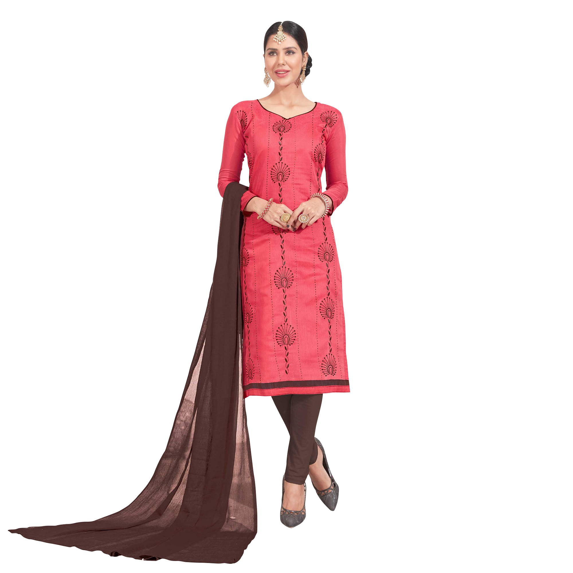 Appealing Embroidered Chanderi Silk Suit - Pack of 3