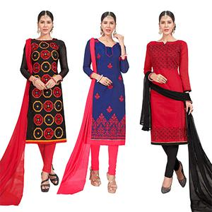 Entrancing Embroidered Chanderi Silk Suit - Pack of 3