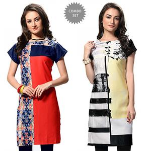 Appealing Red And White Casual Wear Printed Kurti - Pack of 2