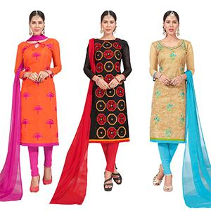 Innovative Embroidered Chanderi Silk Suit - Pack of 3