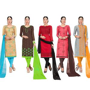 Pretty Embroidered Chanderi Silk Suit - Pack of 5