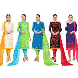 Classy Embroidered Chanderi Silk Suit - Pack of 5