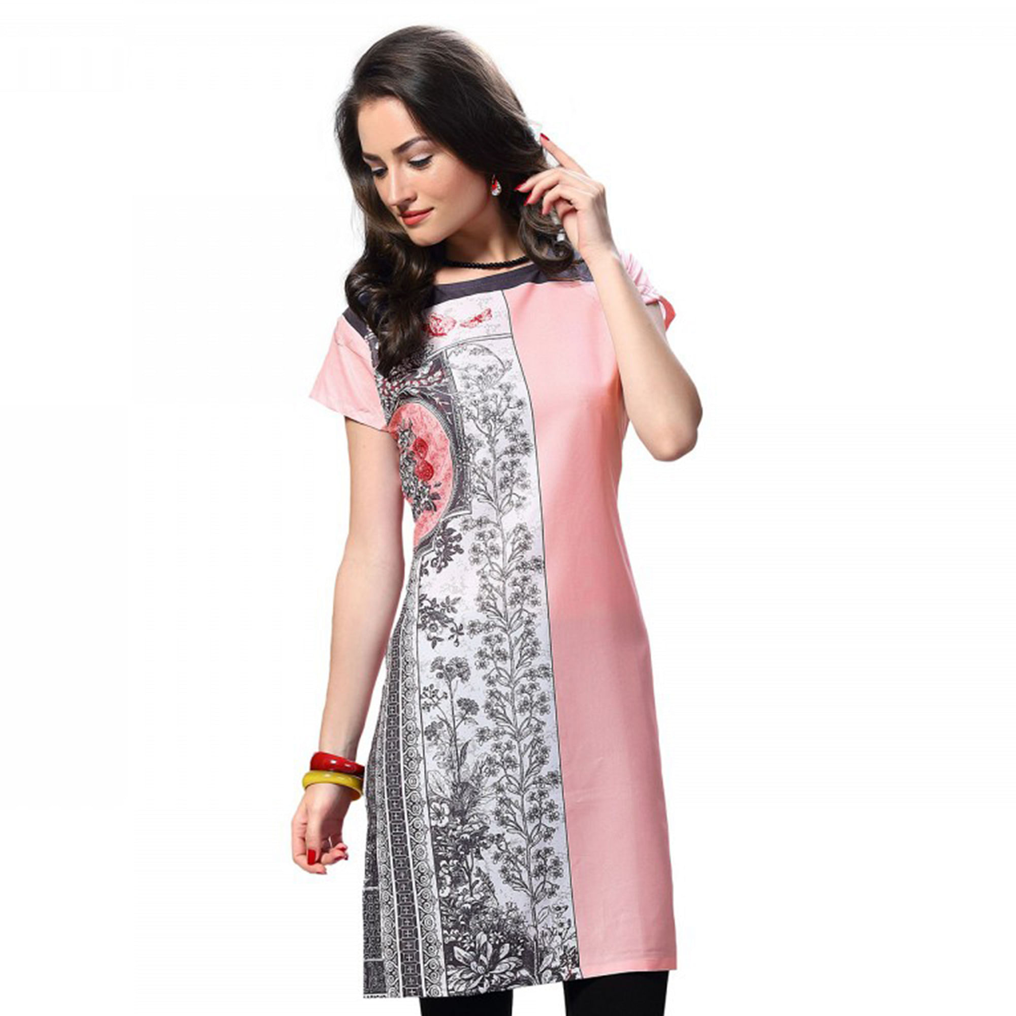 Stylish Red And Pink Casual Wear Printed Kurti - Pack of 2