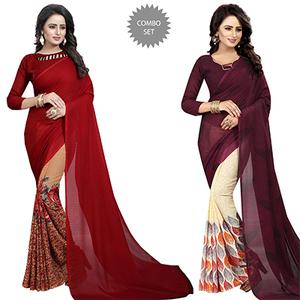 Opulent Casual Wear Printed Georgette Half-Half Saree - Pack of 2
