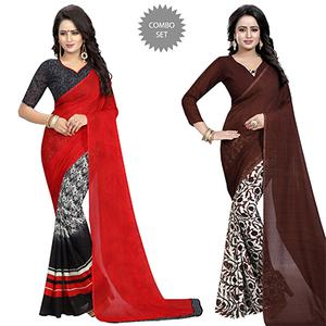 Demanding Casual Wear Printed Georgette Half-Half Saree - Pack of 2