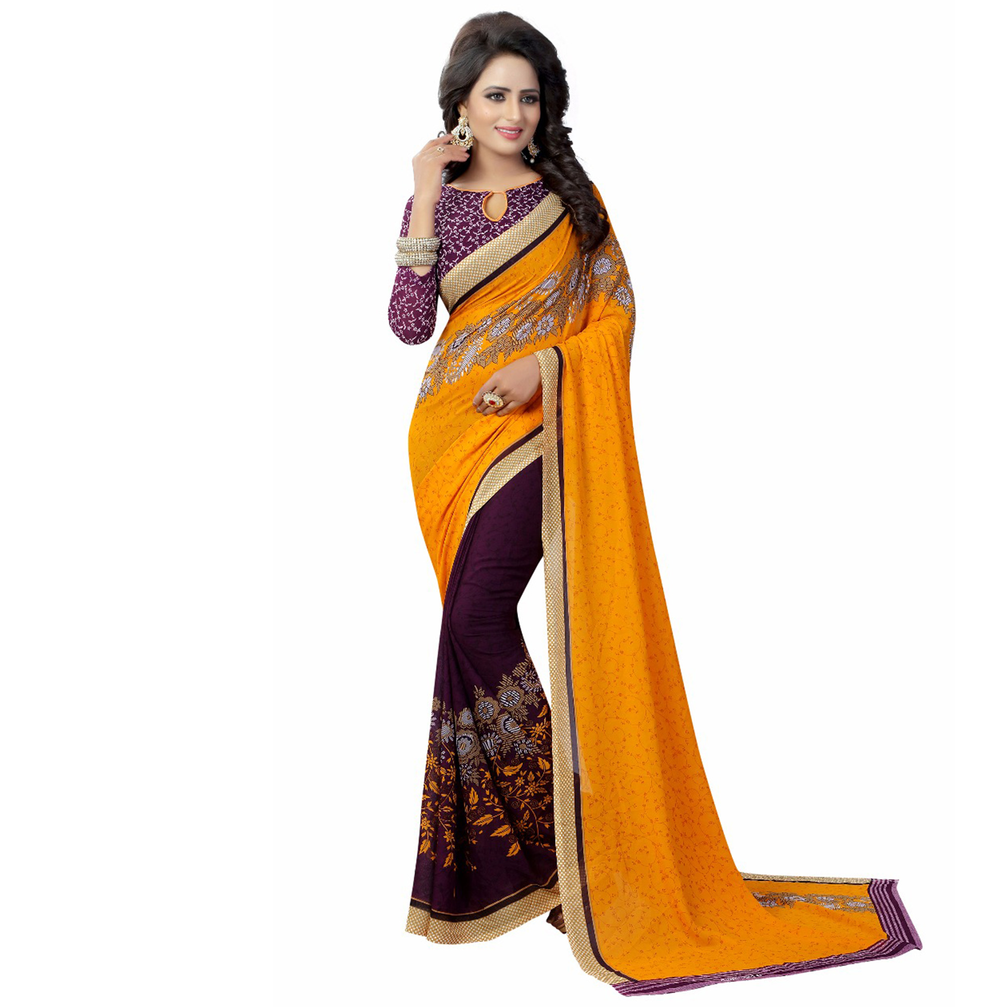 Glowing Casual Wear Printed Georgette Half-Half Saree - Pack of 2