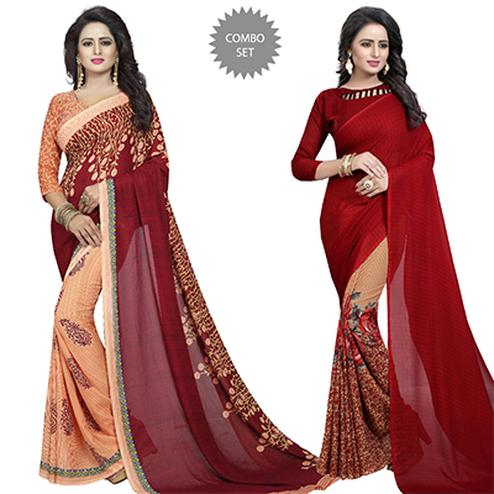 Mesmeric Casual Wear Printed Georgette Half-Half Saree - Pack of 2