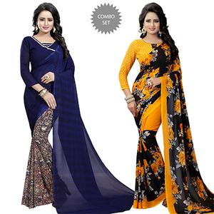 Blooming Casual Wear Printed Georgette Half-Half Saree - Pack of 2