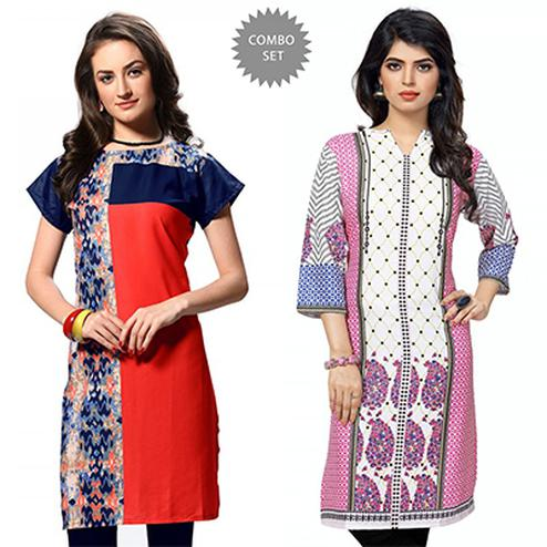 Extravagant Red And White Casual Wear Printed Kurti - Pack of 2