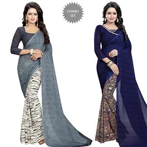 Appealing Casual Wear Printed Georgette Half-Half Saree - Pack of 2
