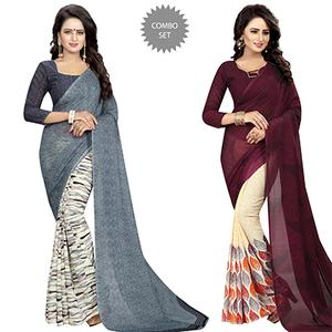 Dazzling Casual Wear Printed Georgette Half-Half Saree - Pack of 2